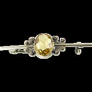 Citrine Bar Brooch with Silver Filigree