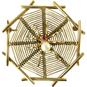 Gold Spider and Web Brooch