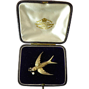 Victorian Gilt Silver Swallow Brooch in Original Box