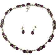 Amethyst Paste Riviere and Earrings