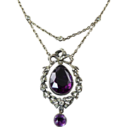 French Edwardian Necklace with Clear and Amethyst Paste Stones