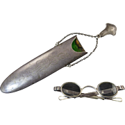 Kerr and Co. Chatelaine Sterling Silver Eyeglass Holder and Eyeglasses