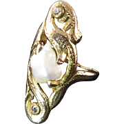 Art Nouveau Gold Ring with Blister Pearl and Diamonds