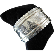 Victorian Silver Cuff with Aesthetic Movement Engraved Birds