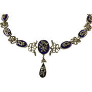 French Georgian Revival Marcasite and Cobalt Glass Necklace