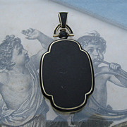 SOLD Deco Matte Enamel Locket 14k