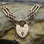 SALE Edwardian 15k Heart Padlock Gate Bracelet Rose Gold
