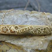 SALE Victorian Mizpah Gold Bar Necklace 9k & 14k