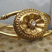 SALE Treasure in Victorian Etruscan Revival Diamond & Gold Bracelet 14k
