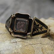 SALE Victorian Enamel Mourning Ring 15k