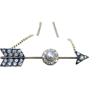 SOLD Beyond Devine Victorian Diamond & Natural Pearl Arrow Converted Necklace 14k