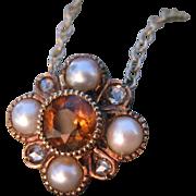 SALE Regal Topaz Pearl Diamond Victorian Converted Pendant Necklace 14k