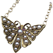 SALE Victorian Butterfly Pearl & Garnet Converted Necklace 14k