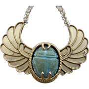 SALE Wings of Desire Victorian Winged Scarab Converted 18k & 14k Necklace