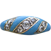 SALE Vision in Blue Victorian Enamel and Diamond Ring 14k