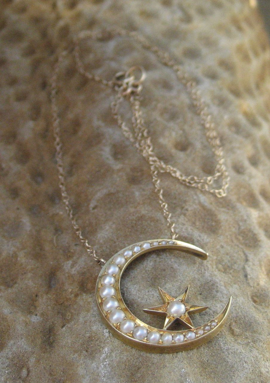 Victorian Moon Star Seed Pearl Pendant 14k Necklace From