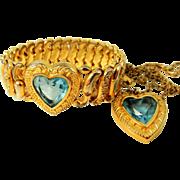 Vintage Pitman & Keeler Sweetheart HEART Expansion Bracelet Necklace Set Orig Box Topaz Rhines