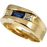 REDUCED Vintage Sapphire Diamond Accent Ring 14k Gold Heavy Setting Unisex