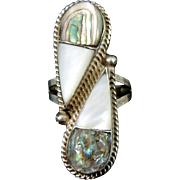Abalone Pearl Sterling Silver Large Ring Taxco Mexico Vintage