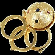 SALE Vintage 14k Gold Slide Locket Pendant Charm with Gemstone Accents