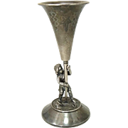 Antique Figural Silver Plate Trumpet Vase Boy and Shovel Meriden B. Co.