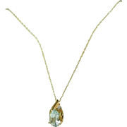 14k Gold Aquamarine Pendant and Chain 1.33 ct Beautiful Stone