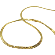 14k Gold Herringbone Chain Necklace Italy 16 inch 6.7g