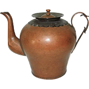 Rare Copper Teapot Water Jug Applied Work Arts and Crafts European