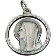 SALE Lovely Italian Vintage Virgin Mary Double Sided Pendant or Medal Larger in Size Silver ov