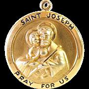 SALE St. JOSEPH Religious Pendant Medal Gold Filled