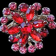 Ruby Red Pink Rhinestone BROOCH Big