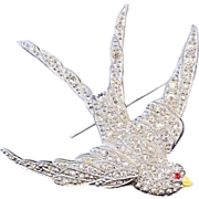 Pave RHINESTONE Sparrow Brooch - Art NOUVEAU - signed