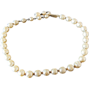 BAROQUE Fresh Water PEARL Choker Necklace Golden Vintage