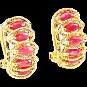 SALE RUBY Earrings 14k Gold French Back