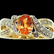 SALE MANDARIN Garnet Diamond Ring 14k Gold Orange
