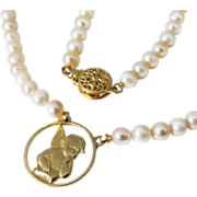 Cultured Pearl 14k Gold Angel Pendant Necklace