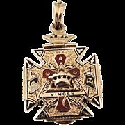 SALE Masonic Mason's 14k Gold Fob or Pendant c1900 Emamel 14g