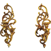 Syroco Wall Sconces Ornate Gold Finish Vintage