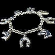 Sterling Silver Horse Charm Bracelet Italy Horseshoe