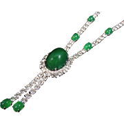 Glass Emerald and Rhinestone Tassel Necklace EXTRAORDINARY