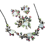 REDUCED Coro Faux Opal Hearts Pastel Rhinestone Parure Set Silver Vermeil