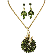 Crown Trifari Peridot Rhinestone Necklace and Earring Set SENSATIONAL