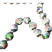 Art Glass Roses Bead Necklace Deco