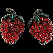 Weiss Strawberry Rhinestone Earrings Clip On