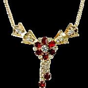 Vintage Ruby Rhinestone Flower Tassel Necklace Scitarelli 1950s