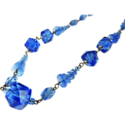 Art Deco Czech Glass Bead Necklace Interesting Shapes