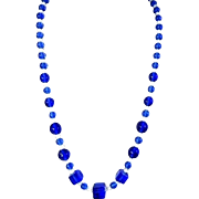 Deco Royal Blue Czech Glass Bead Necklace