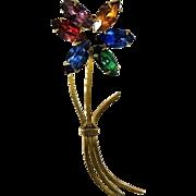 Rainbow Rhinestone Flower Brooch 1940s