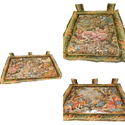 SALE Vintage Victorian Revival Tapestry Wall Hangings Valances Set of 3 Courting Scenes