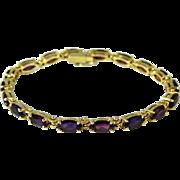 SALE Amethyst 14k Gold Tennis Bracelet Over 7 Carats Purple Gems